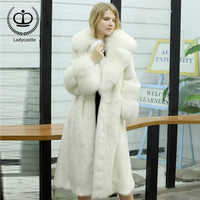 2018 New Arrival Real Mink Fur Coat With White Fox Big Lapel Collar Luxury Mink Fur Coat Winter Women Overcoat Fashion MKW 199