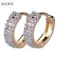 GULICX 2016 Fashion Circle Earing for Women  Gold Platinum Plated White CZ Zircon Hoop Huggie Earrings Wedding Jewelry E101