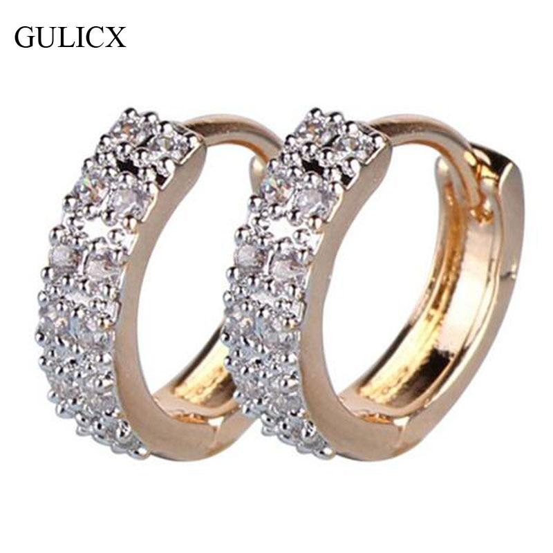 GULICX 2017 Fashion Circle Earing for Women Gold-color White CZ Zircon Hoop Huggie Earrings Wedding Jewelry E101
