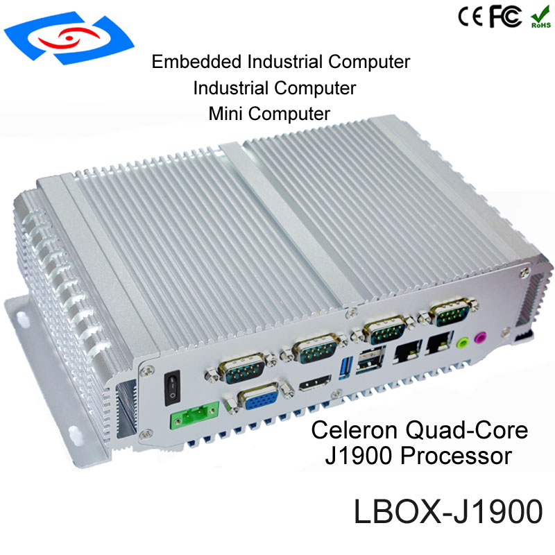 Newest Mini PC Computer Intel Celeron J1900 2.0GHz Dual Lan Industrial Thin Client No Fan Design Micro Windows Linux OS ...