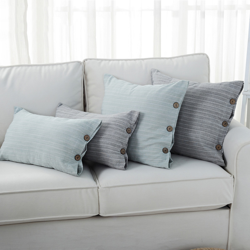 buy pillow cover grey blue lattice button cushion cover simple style home decorative pillow case from reliable pillow cover