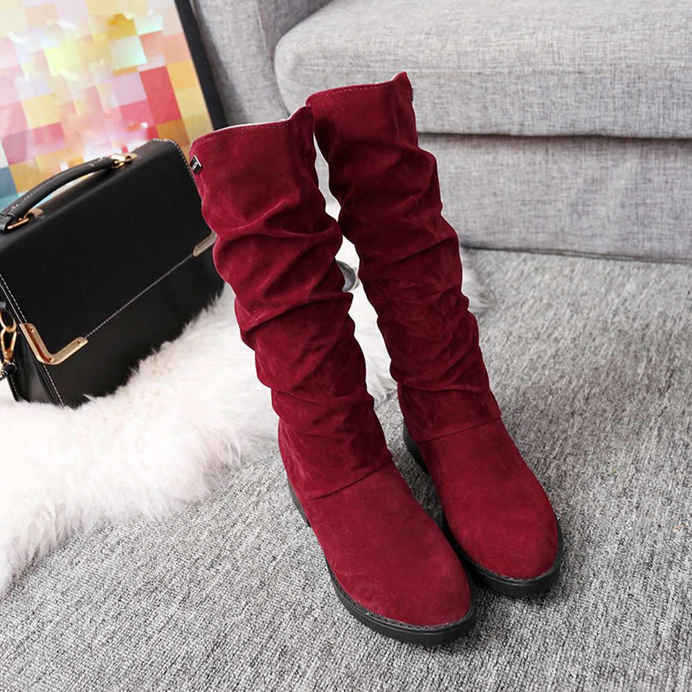 CAGACE 2018 ผู้หญิงฤดูใบไม้ร่วงฤดูหนาวหญิงรอบ Toe กลางลูกวัวเจ้าหญิงหวาน BOOT สไตล์แบน FLOCK รองเท้า snow BOOTS