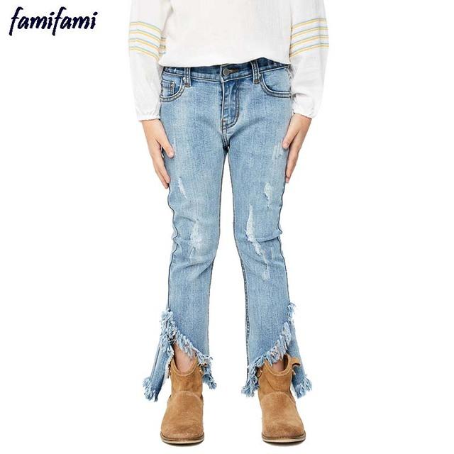 Famifami adolescente niñas flare ancha ripped denim jeans moda niños pantalones de los niños pantalones de corte de arranque borla deshilachados hem 2017 primavera