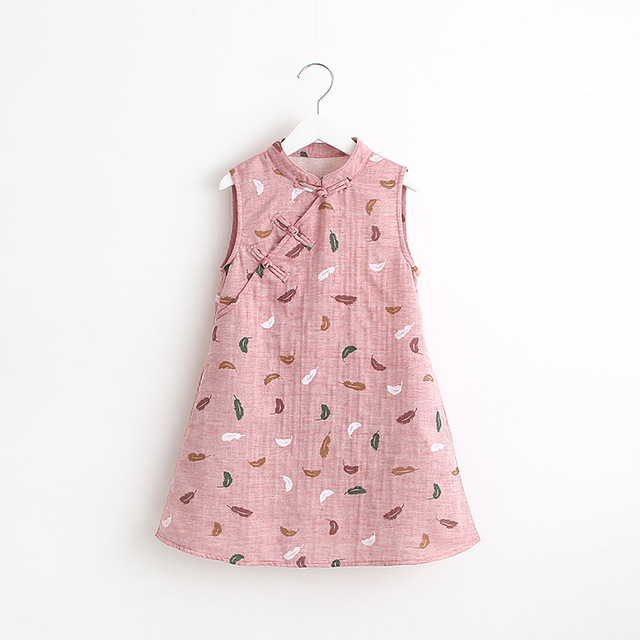 033d542d4f46 China Style Girls Cheongsam Leaves Print Dress Baby Ruffles Pink And Green  Color Dress Summer Cotton Simple Casual Party Clothes