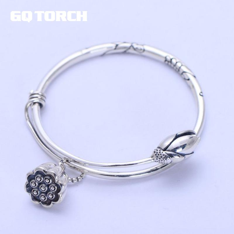 925 Sterling Silver Expandable Bracelet For Women Vintage Lotus Charm Flowers Engraved Bracelets & Bangles925 Sterling Silver Expandable Bracelet For Women Vintage Lotus Charm Flowers Engraved Bracelets & Bangles