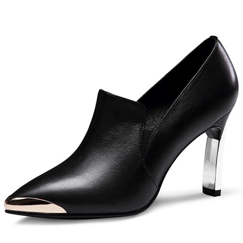 Conasco Noir 1 Métal Mariage Bal Parti Femmes Mode Dames Pompes Talons Sexy Véritable De Base Orteil Du Femme Cuir Hauts En Chaussures KlF1c3TJ
