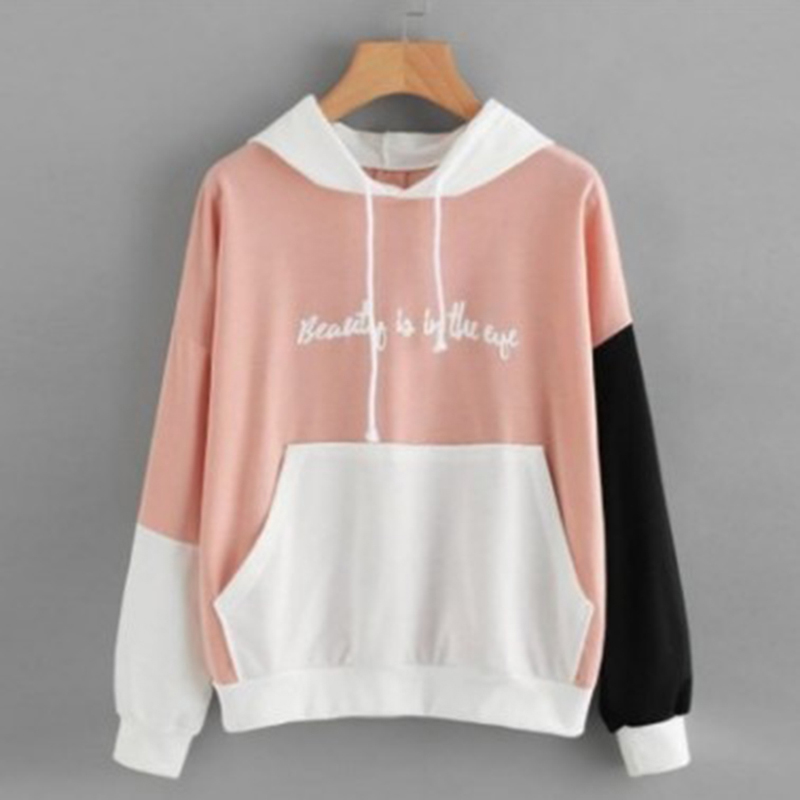 Fashion Autumn Hoodies Letters Printed Patchwork Women Sweatshirts Vintage For Womens Hooded Pullovers Tracksuit Tops