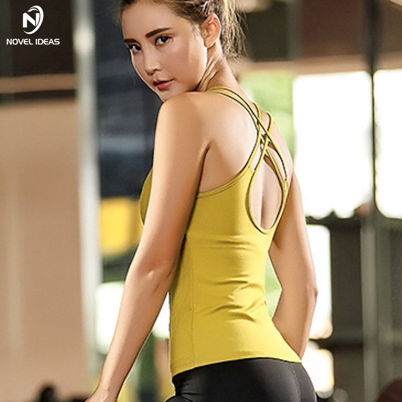 Novel ideas Yoga Shirt Women Gym Sports With Bra Womens Fitness Sportswear Vest Cross Over Back Strape Workout TankTop