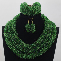 Fashionable Handmade Rope Chain Seed Crystal African Beads Jewelry Sets Green Nigerian Wedding Jewellery Free Shipping WD849