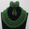 Moda Cadeia Corda Artesanal Semente de Cristal de Jóias De Casamento Nigeriano Beads Africanos conjunto de Jóias Verde Frete Grátis WD849