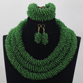 Moda Hecha A Mano Cuerda Cadena Semilla Cristal Boda Nigeriano Beads Africanos Joyería Establece Verde Joyería Envío Gratis WD849