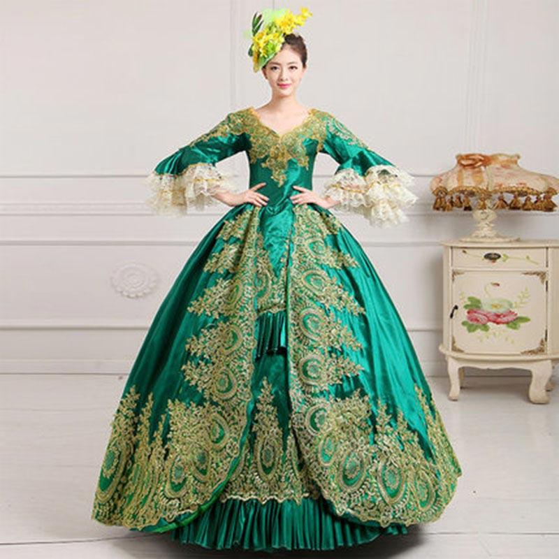 18e Eeuw Groene V-hals Hof Rococo Maskerade Feestjurk Gold Applicaties Victoriaanse Periode Baljurken Voor Vrouwen Drop Verzending
