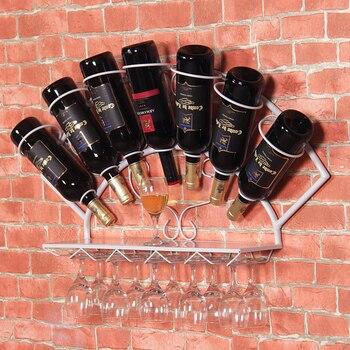 Железная полка для вина, подвесная настенная стойка для украшения вина, винограда, полка для вина, витрины, сумка для бокала, mail