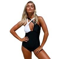 Black White Cross Plus Size XXL One Piece Swimsuit 2017 Hot Selling Swimwear Women Brazilian Bandage