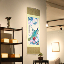 Tangfoo Wall Art Crafts Peacock Peony Chinese Classical Silk Scroll Painting Famous Decoration Gifts