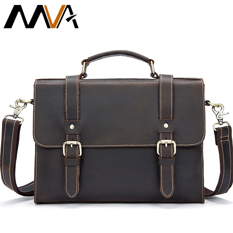 MVA Men Laptop Messenger Bags Crazy Horse Leather Shoulder Bags Business Briefcase Laptop Handbag Tote Vintage Crossbody Bag Men zznick new men genuine leather bag business men bags laptop tote briefcase crossbody bags shoulder handbag men s messenger bag