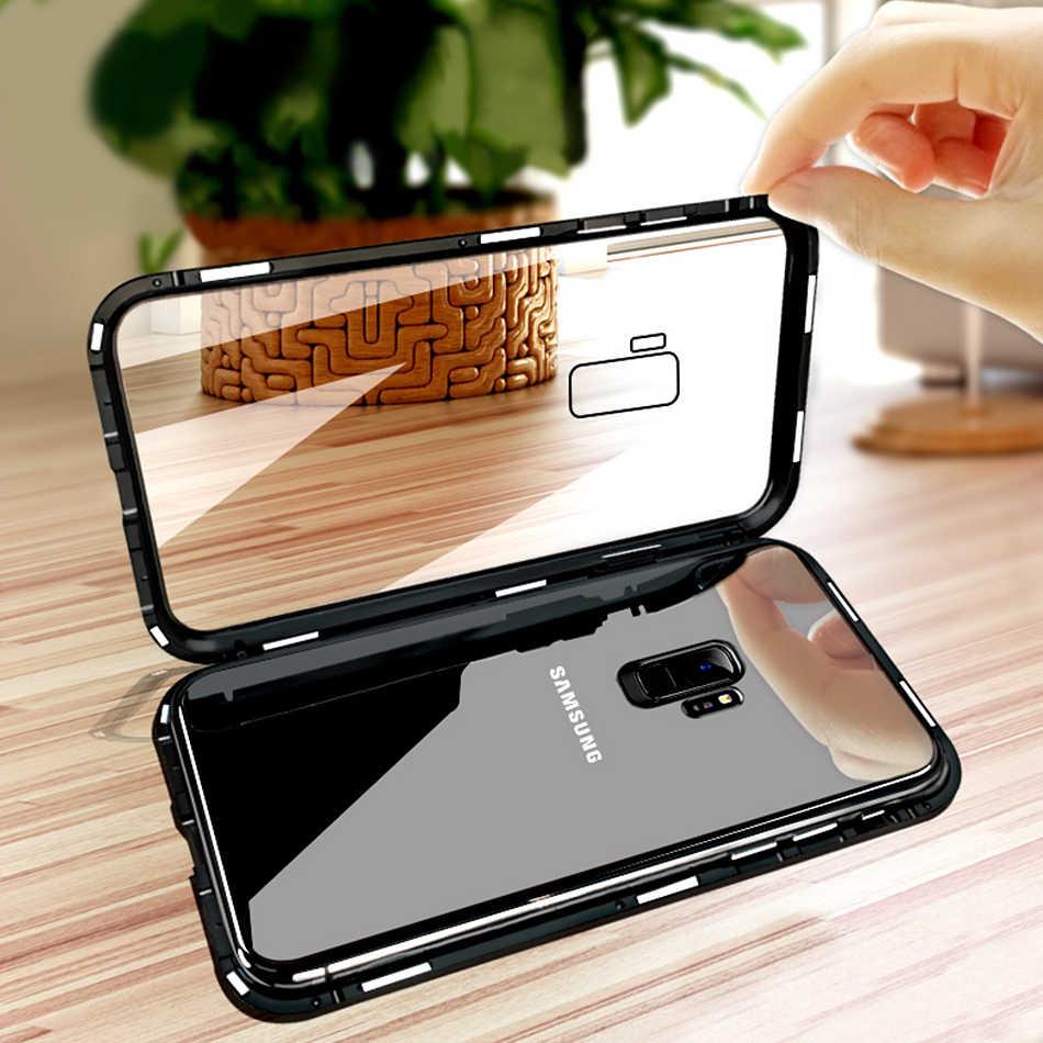Роскошный металлический магнитный стеклянный чехол-книжка для samsung Galaxy A7 A9 2018 Note 9 8 S8 S9 Plus J6 J4, чехол с магнитным бампером