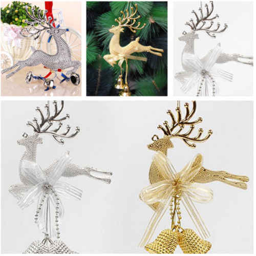 Gold Sliver Reindeer Christmas Tree Hanging Bauble Ornament Party Xmas Decor Deer With Bells Festival Party Baubles
