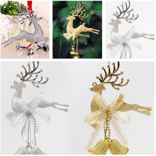 Gold Sliver Reindeer Christmas Tree Hanging Bauble
