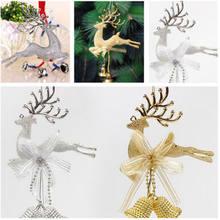 Ouro tira rena árvore de natal pendurado bauble ornamento festa de natal decoração veados com sinos festa festival baubles
