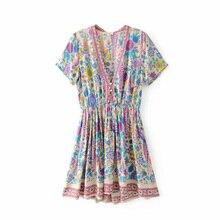 Boho Chic летние пляжные Винтаж павлин цветочный принт мини платье для женщин Мода 2019 г. V образным вырезом пуговицы дамы платья для