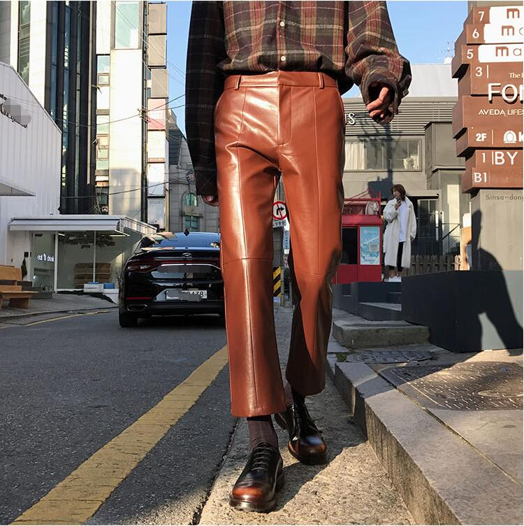 27-32!!Men's new products wear line stitched together in the four seasons with a soft leather nine-point trousers 39