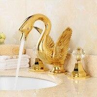 Латунь PVD золотой отделкой деления бассейна кран двойной ручка три отверстия бассейна кран Европейский стиль лебедь воды смесителя GD01