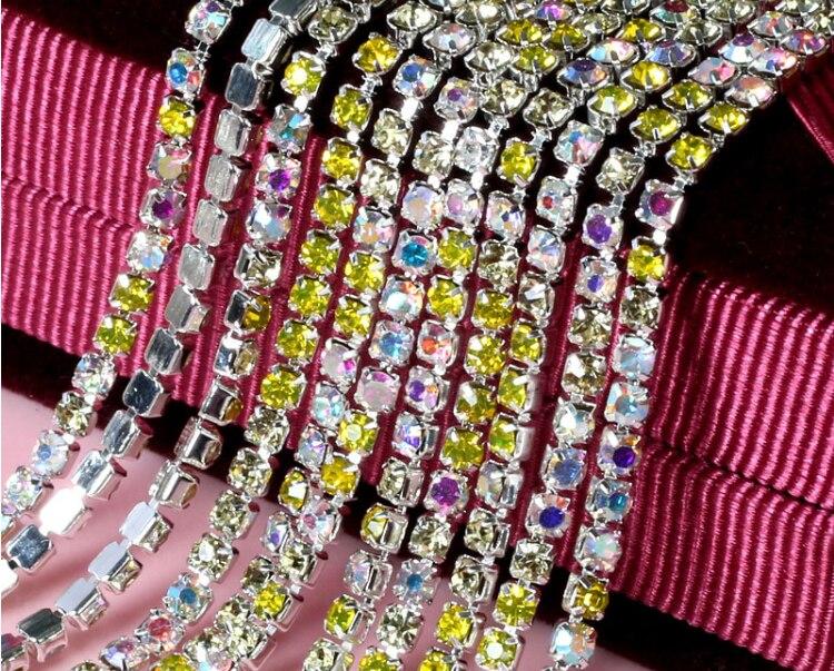 b217c65f7cbf 10 metros color amarillo + AB SS12 3mm diamante cristales Diamantes con  piedras falsas plateado ajuste cadena TRIM