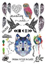 LC878/Geometric Boho Style Temporary Body Tattoos Feather Owl Wolf  Birds Heart Tattoo Pattern Unisex