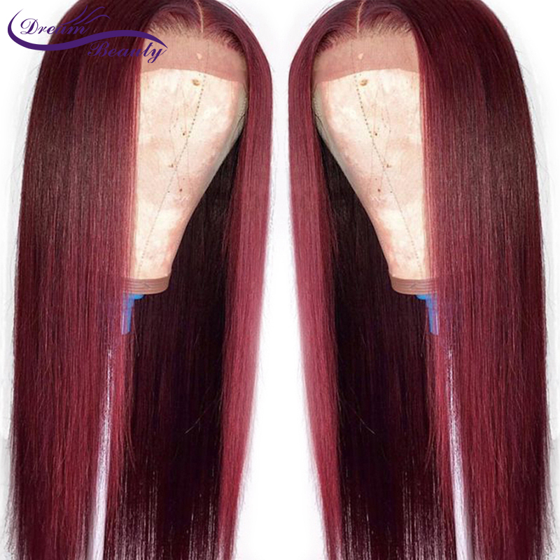 99J Ombre Pre Plucked Lace Front Human Hair Wigs Baby Hair Straight Non-Remy Hair Brazilian Lace Front Wigs 180% Dream Beauty