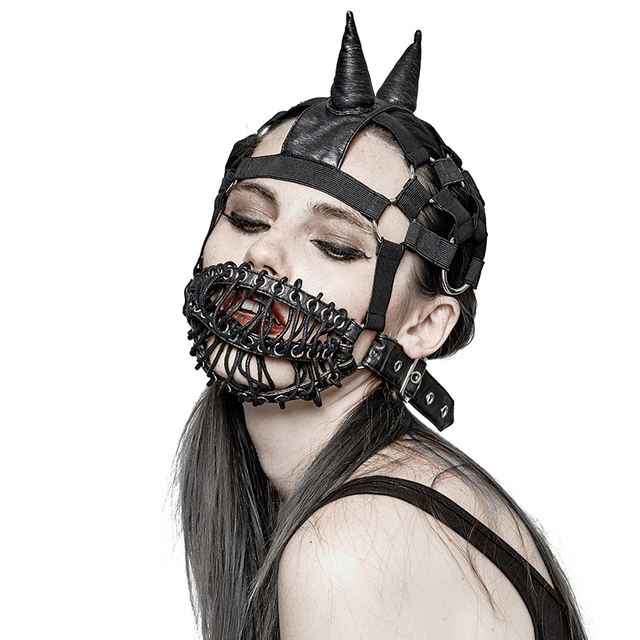 Gothic Heavy Punk Men Women Black Leather Mask Steampunk Halloween ...