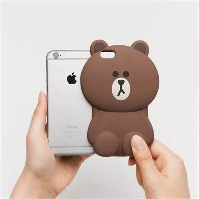 04d862f34e4 3D Cute Soft Silicone Teddy Bear Cover for Iphone 5 5s 6 6s Plus 6+ ...