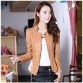 Осень новинка женщин высокого класса кожаные куртки большие ярдов с длинным рукавом пальто женщины элегантный тонкий кожа свободное пальто G1835
