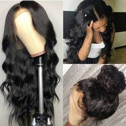Allrun 360 парик с фронтальным кружевом бразильский не Реми волнистые парики для тела фронтальный парик с кружевом для черных женщин с волосами ...