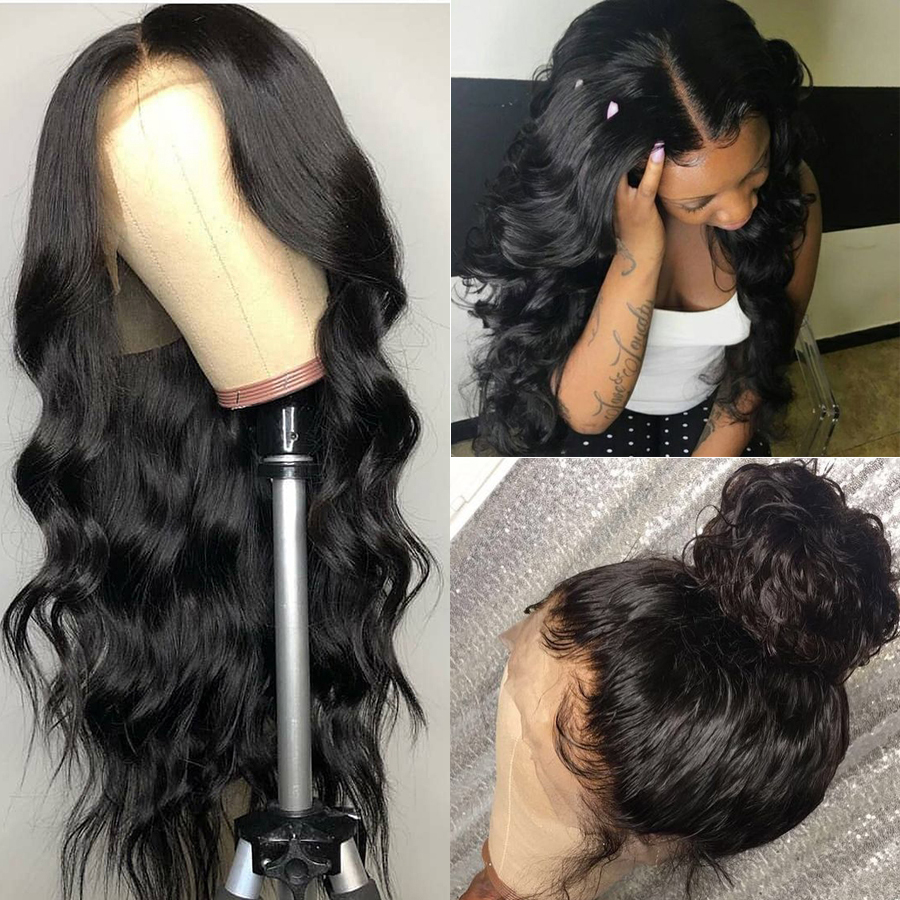 Allrun 360 Lace Frontal Wig Brazilian Non Remy Body Wave Wigs Lace Frontal Human Hair Wig For Black Women With Baby Hair image