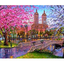 30X30cm Brand New Diamond Painting Full Square City Flower Embroidery Family Decoration Crafts