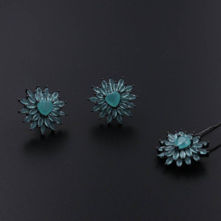 milky blue earring and pendant necklace flower shape pendant necklace jewerly set for women gift alloy rose flower pendant necklace