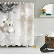 White Shower Curtains Christmas Glitter Ball Tree Winter Luxury Washable Bathroom Curtain Fabric Polyester for Bathtub Decor(China)