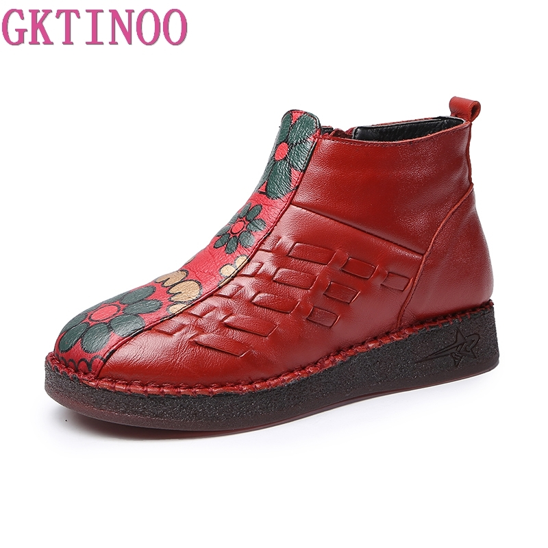 GKTINOO 2019 Fashion Handmade Boots For Women Genuine Leather Ankle Shoes Vintage Mom Women Shoes Round