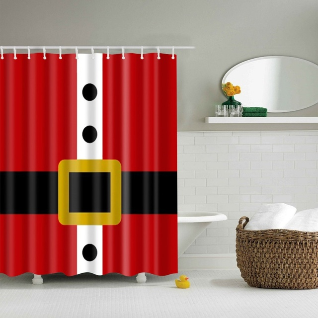 € 13.55 |Navidad Cortina de ducha de Santa Claus, hombre de nieve árbol  claro impreso cortina para cuarto de baño contiene 12 ganchos de plástico  ...