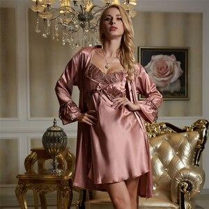 Image 5 - Xifenni Robe Sets Weibliche Hohe Qualität Faux Seide Nachtwäsche Frauen Mode Trend Zwei Stück Spitze Langarm bademäntel 1521