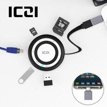 ICZI USB 3.0 Hub USB 3.0 Port*2 +TF/SD Card Slot + RJ-45 Port + USB C Adapter for MacBook Pro 2017 PC Laptop accessories