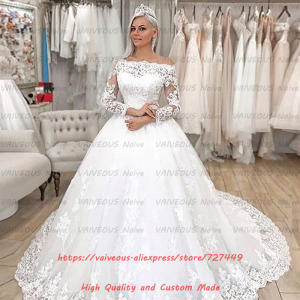 Vestido De Novia 2019 Elegant Boat Neck Long Sleeves Wedding Dresses Tulle Lace Boho Dubai Wedding Gown Bridal Robe De Mariee