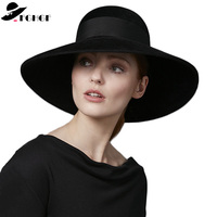 FGHGF Women Black Wool Felt Winter Hat 18cm Large Down Brim Floppy Fedoras Grosgrain Ribbon Lady Church Dress Wedding Bowler Hat