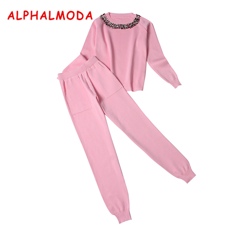 ALPHALMODA Winter Knitted Pants 2pcs Suits Ladies Sets