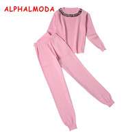 ALPHALMODA 2017 Winter Ladies Graceful Beaded Knitted Jumpers And Pants 2pcs Suits Long Sleeved Solid Color