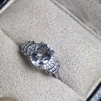 Natural aquamarine ring, 925 silver, simple style, 2 carat gems, clean quality, cheap price
