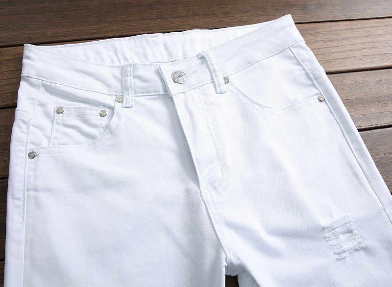 Jeans Männer Hohe Qualität Mode Denim Jean Neue Hüfte Hop Design Weiß Dünne Biker Retro Jeans Für Männlichen Zerrissene Streetwear plus Größe