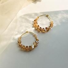 round hoop circle earrings sterling  crystal temperament fashion Korean atmosphere personality