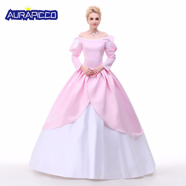 Charming The Little Mermaid Ariel Cosplay Costume Ariel Mermaid Princess Dress  Elegant Puff Long Sleeve Ball Gown Halloween Party Dress